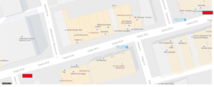 Location of De Anne Lamirande Planter Art. Queen Street West between Manning Gore Vale