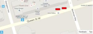 Location of Moisés Frank Planter Art. On Queen Street W. between Shaw & Givins.