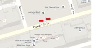 Location of Stuart Pearce Planter Art. On Queen Street W. Between Manning & Euclid